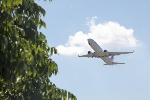 Airline plane flying by tree