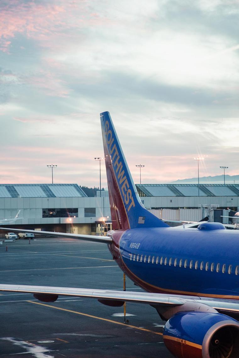 Southwest plane at sunrise