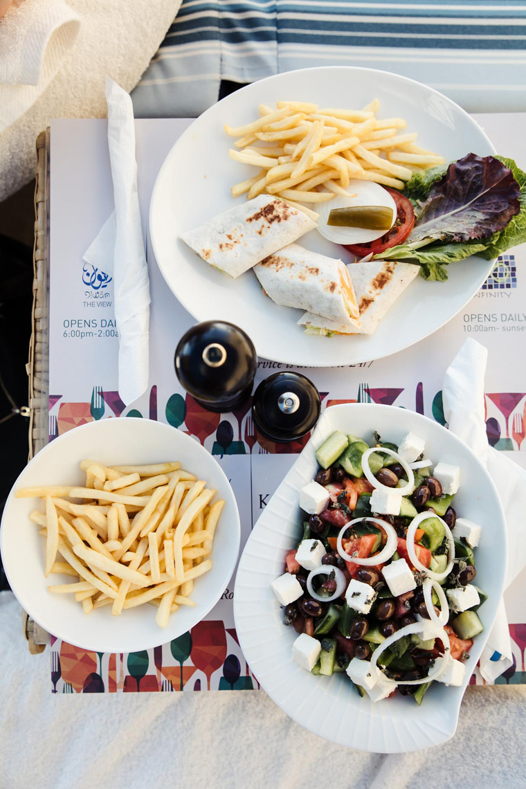 Salad and fries