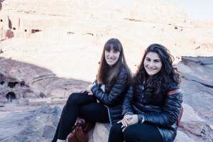 Carly and Nikki at Petra amphitheater