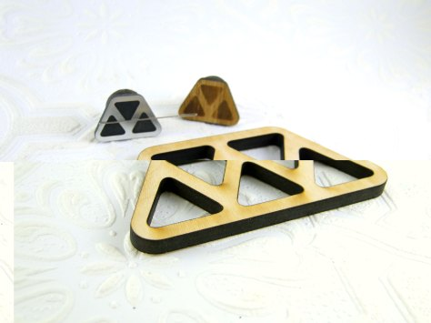 Salvaged wood triangle floss holder with the mini triangle needle minders.