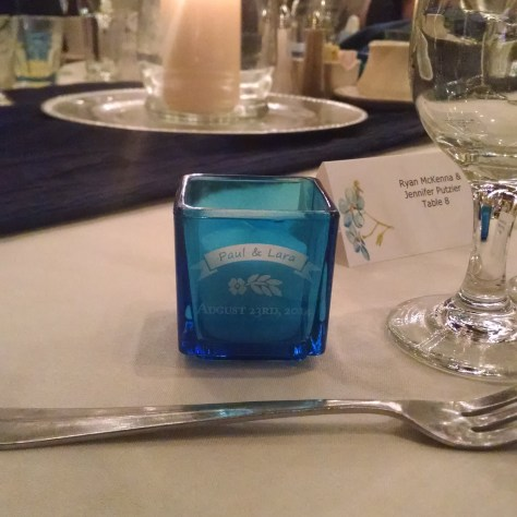 Here's a votive holder at the wedding reception itself!