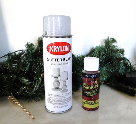Krylon glitter blast spray on the left, Red Glitter paint from on the right.