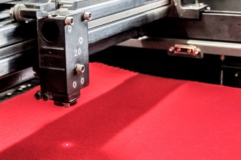 A flat, calm sea of red, perfect for engraving.