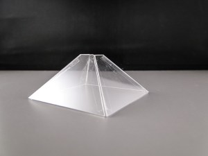 The pyramid, taped and ready for the phone.