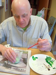Scott at work!  Mixing the green wash (there is a touch of gel medium in the glass too)