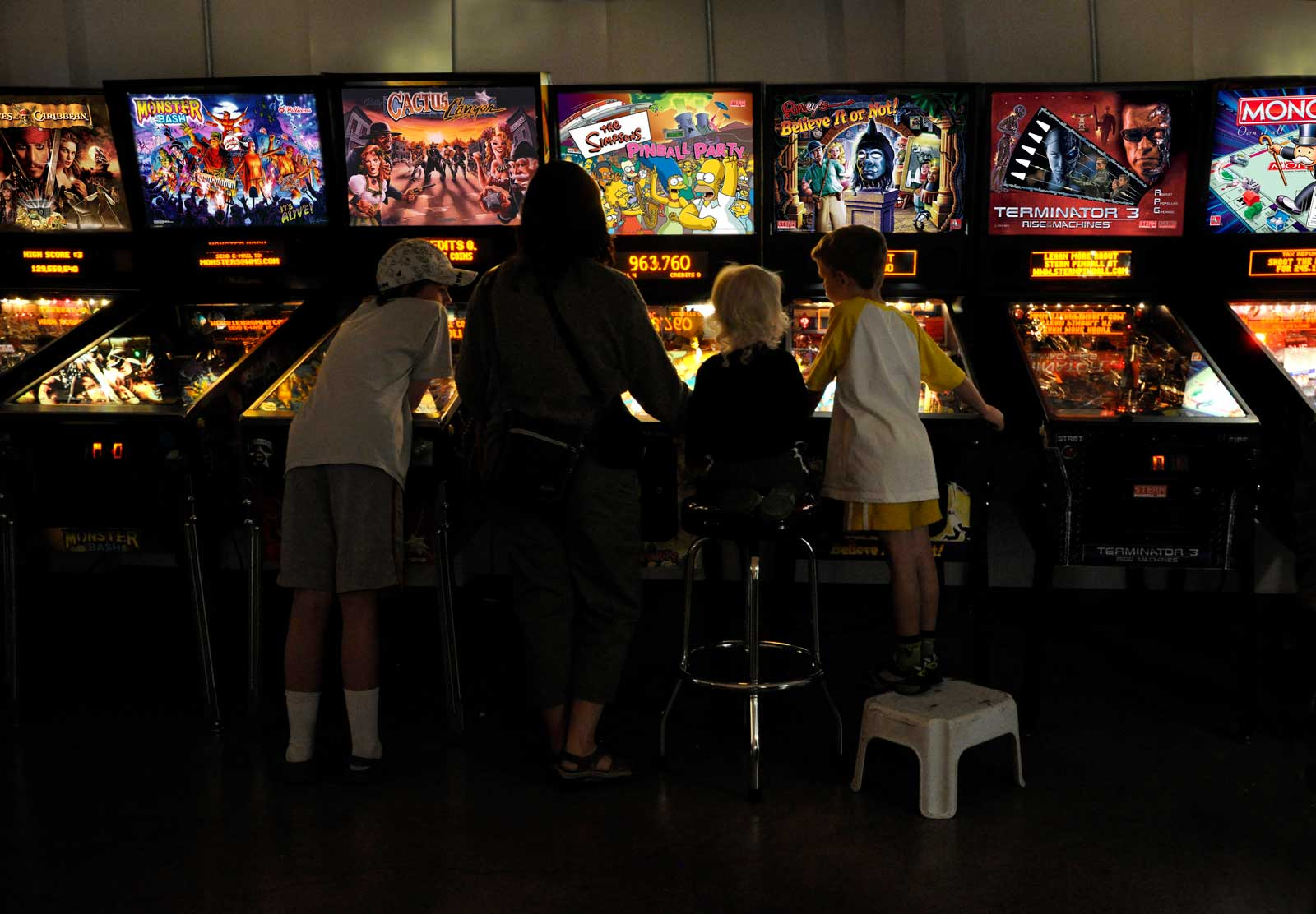 Kids, young and old alike, enjoy the Pinball Hall of Fame.