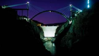 A view of Hoover Dam at night.