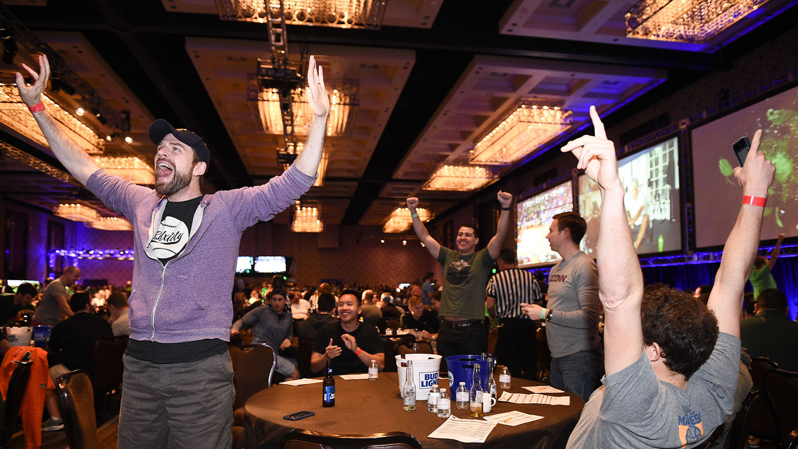 Fans celebrate college basketball's biggest tournament at Hoops & Hops at The Cosmopolitan of Las Vegas.