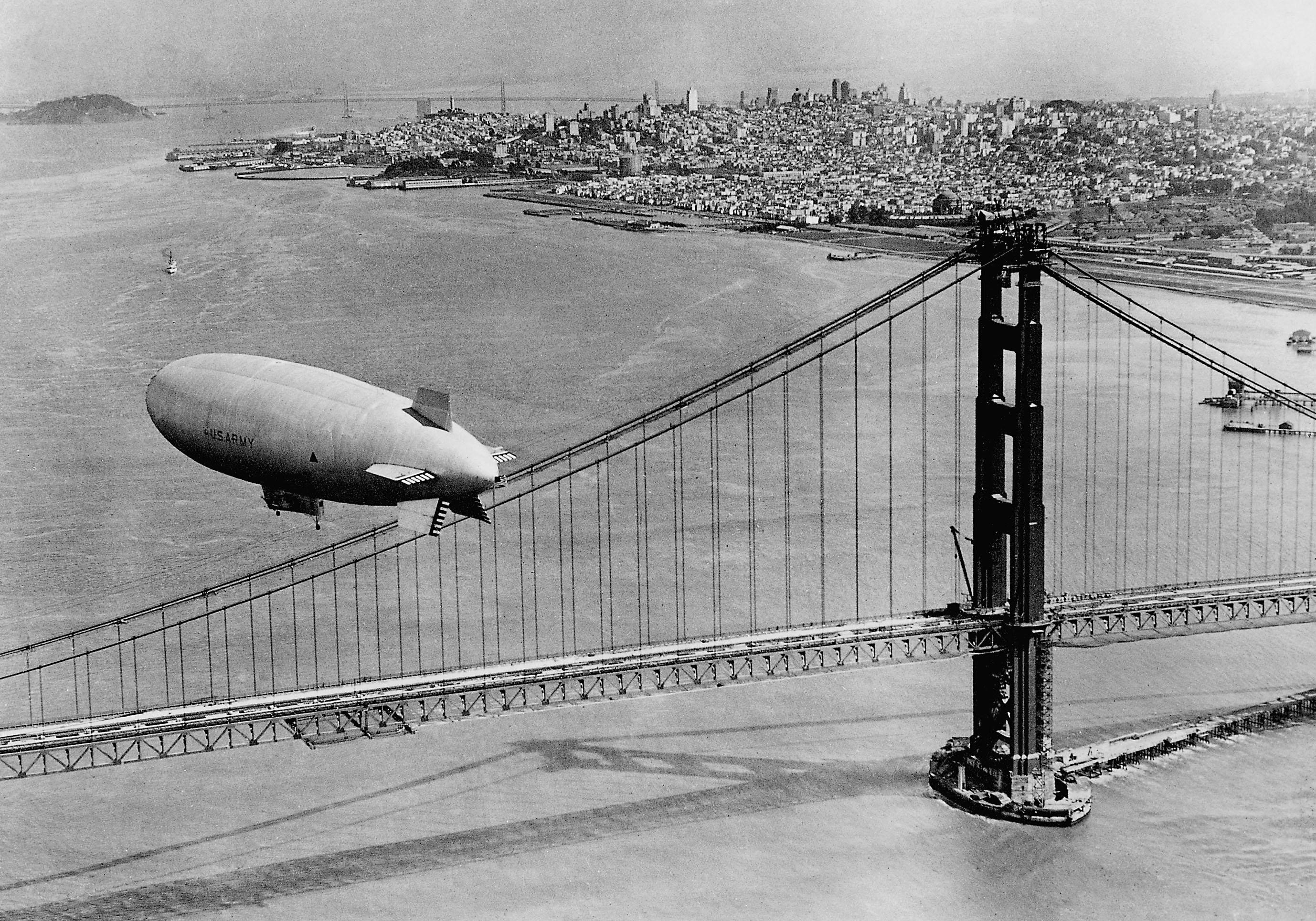 CPJ63A Airship over the Golden Gate Bridge in San Francisco, 1937