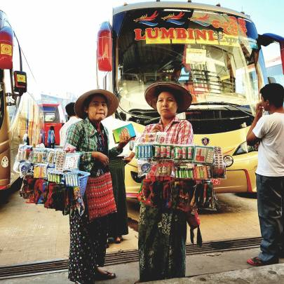 street vendors at the bus station in Yangon