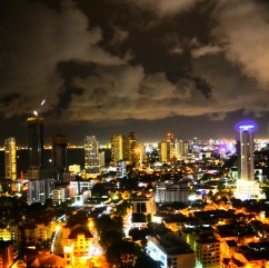 Nigh view of the city