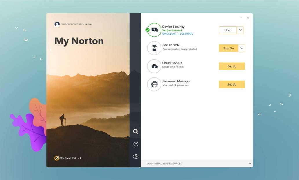 Norton Main Screen User Interface