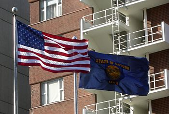 The flags of the United States of America and ...