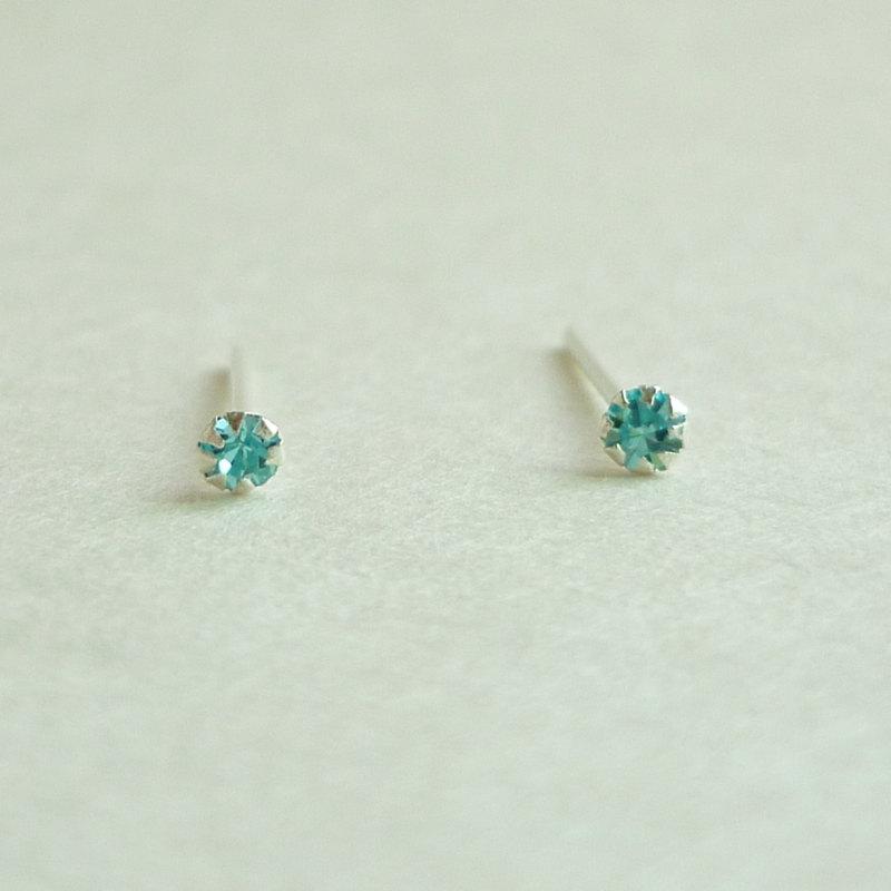 SALE 2 Mm Very Tiny Aquamarine Blue CZ Cartilage Ear