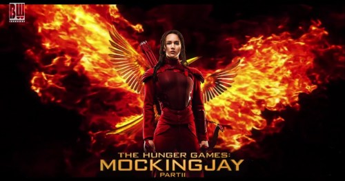 I froze my ass off waiting in line to buy tickets for Mocking Jay II.   Who'd have thought after weeks of waiting for it to come to the small  town base theatre I'd still have to wait outside?! Not me, that's for  damn sure. But really that's a rant for another day. Mocking Jay II… So I've purposefully not read a single review of this film. I read the books right after the first Hunger Games  came out in theatre. In fact, my roommate at the time had told me about  the books about a year before. I'd never heard of them. I'm sort of a  book cover snob (trust me, I know how bad that is) and since it looked  very political thriller-esk I never got around to reading them - quickly  forgetting the premise she'd told me about. Fast forward a year and I'm  sitting in the theatre absolutely appalled at what I'm watching.  Children killing one another wasn't my idea of a good time. In the small  town I was living in, there was only one reputable theatre at the time -  two screens. If you wanted to see a movie, you just went and picked one  - not always with many options. About half way through the movie, it  was ringing bells in my mind of something I'd heard before. I of course  went home and looked it up after and found that it was based on the  first of a three book series. Needless to say, I read them all in less  then three days - borrowing from various friends to get the job done. So  tonight I sat and enjoyed the final installment of a four part movie  saga I read more then four years ago. While I remembered almost every  moment of the book, I was still hoping the movie would feel fresh. Boy  did it ever! I was pleasantly surprised at the way it was filmed. I felt  like the last book was a bit rushed but they were able to take the time  to express it all visually in this two part movie. After the  movie was over, my theatre companions asked me: Did Peta and Katniss  actually have children at the end of the book? I was able to explain  that yes they did. In the books, K