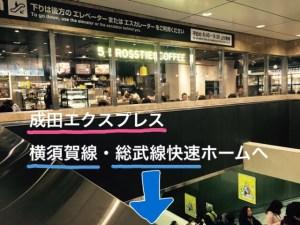 横須賀・総武線快速のホームへのエスカレーターの上にあるファイブクロスティーズ・コーヒー