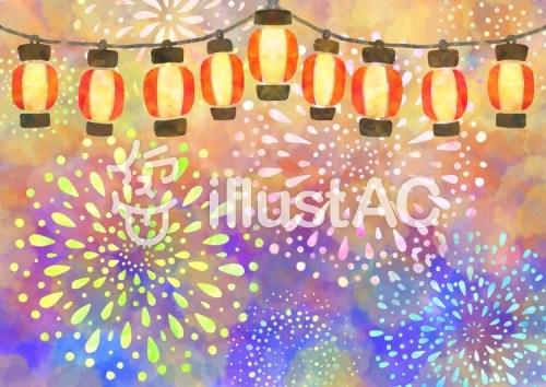 提灯と花火の背景イラスト