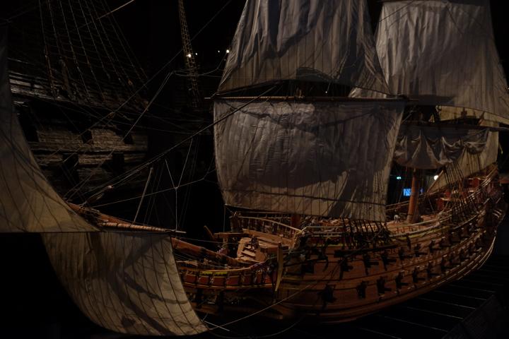 Das Modell der Vasa vor dem Original