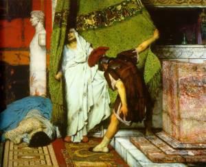 Gratus proclaims Claudius emperor. Detail from A Roman Emperor 41AD, by Lawrence Alma-Tadema.