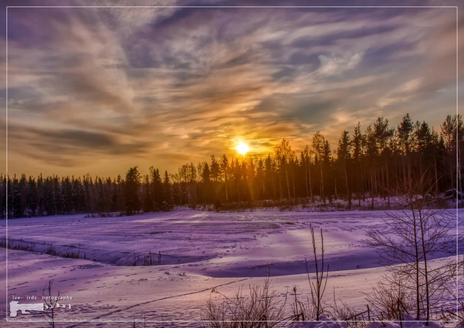 Pictures of a sunset over a forest near the Finnish town of Rauma