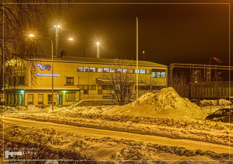 Night shot of a freight train station in Rauma, Finland