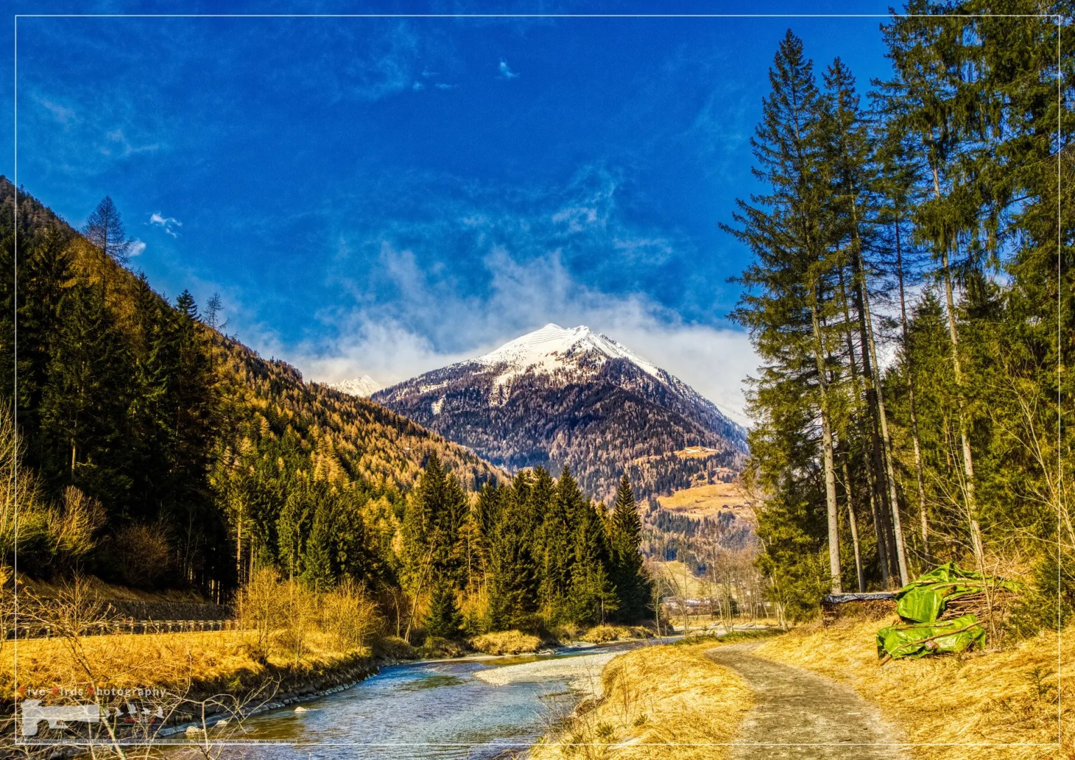 Landscape shot of the Alps between St. Johann and Sand in Taufers in Tirol, Italy
