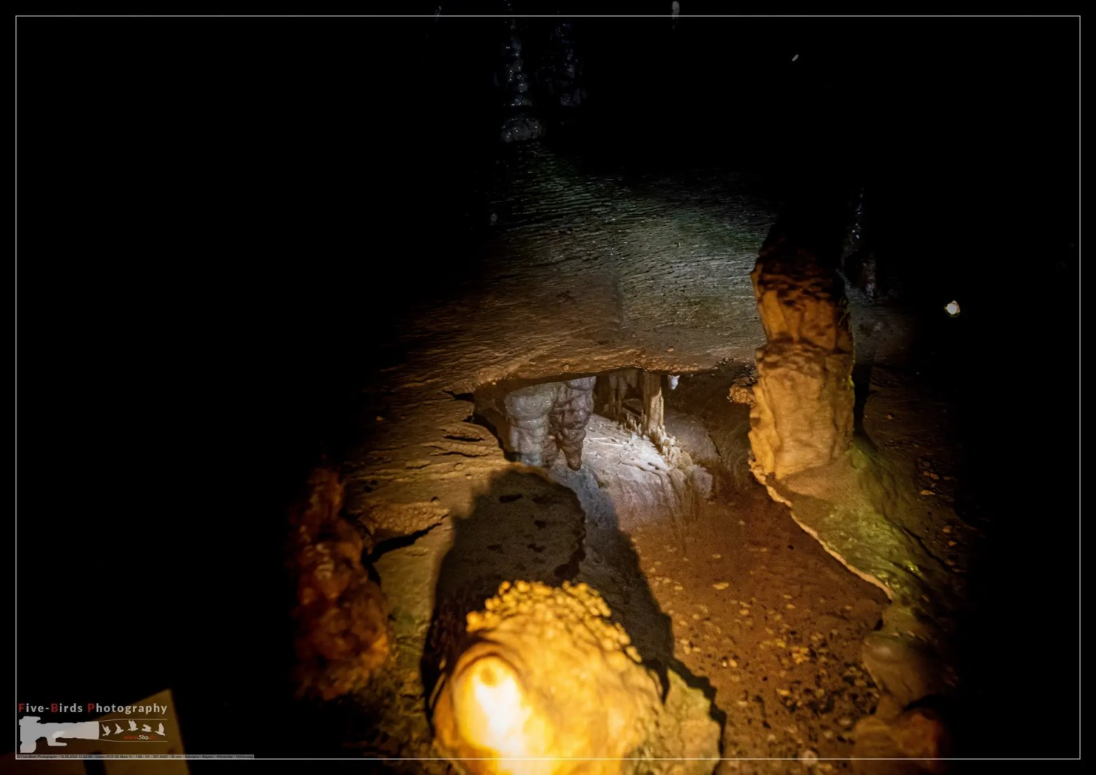 Interior photos of a stalactite cave in Franconian Switzerland in southern Germany