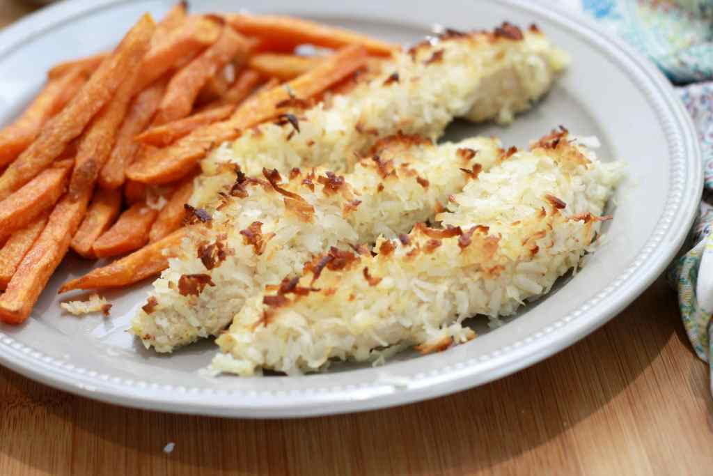 Paleo Coconut Chicken Strips!!! Make these ahead so you can indulge on a busy weeknight....or a lazy Sunday....or just because| 5dinners1hour.com