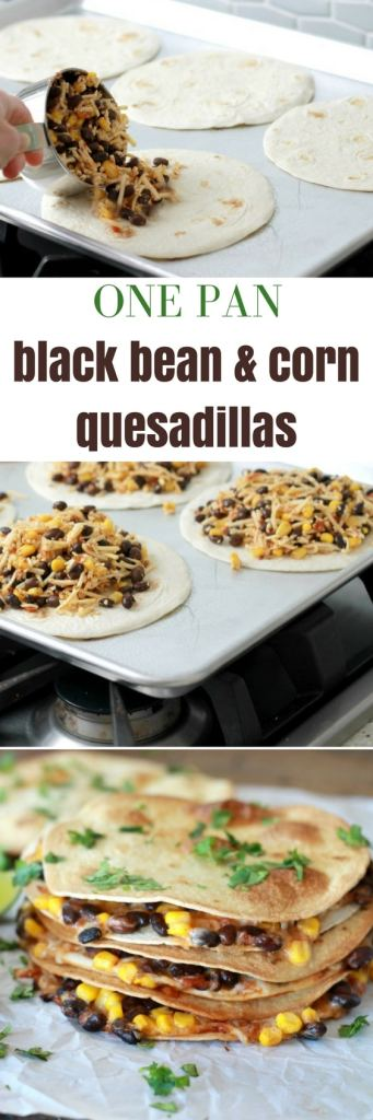 One pan black bean and corn Quesadillas | one pan dinner | 5dinners1hour.com