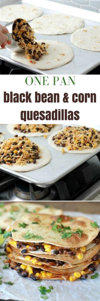 One pan black bean and corn Quesadillas | one pan dinner | 5dinners1hour.com