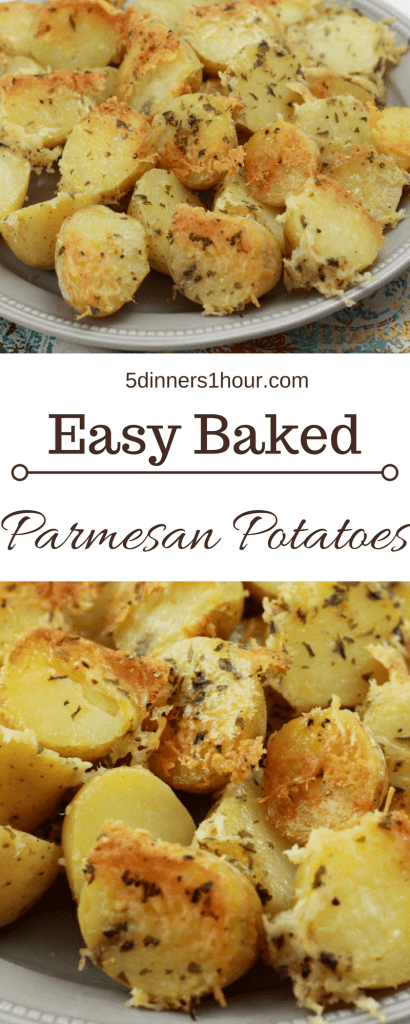 These easy Baked Parmesan Potatoes is a side dish is good enough to serve guests!| 5dinners1hour.com