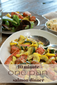 10 minute ONE PAN  salmon dinner | 5dinners1hour.com