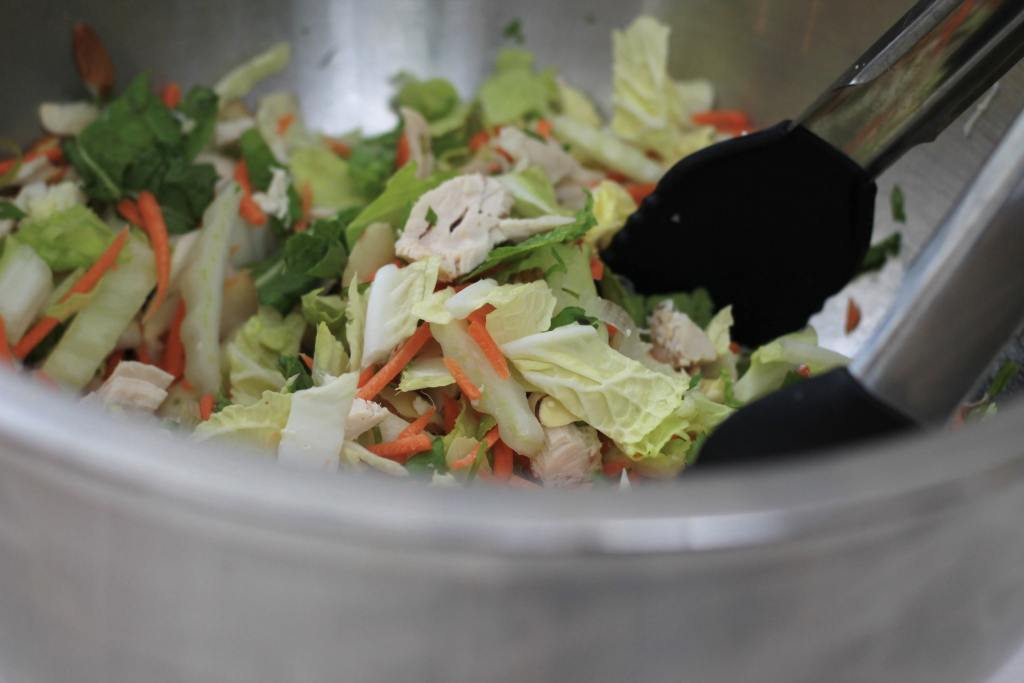 Asian BBQ Chicken Salad that is way better than take out. Salads like this help me get my 5 servings a day of vegetables. | 5dinners1hour.com