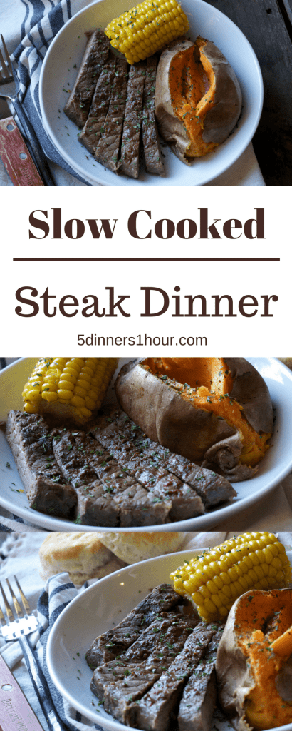 OMG! A full steak dinner in the slow cooker! WOW! This is a great idea. | 5dinners1hour.com