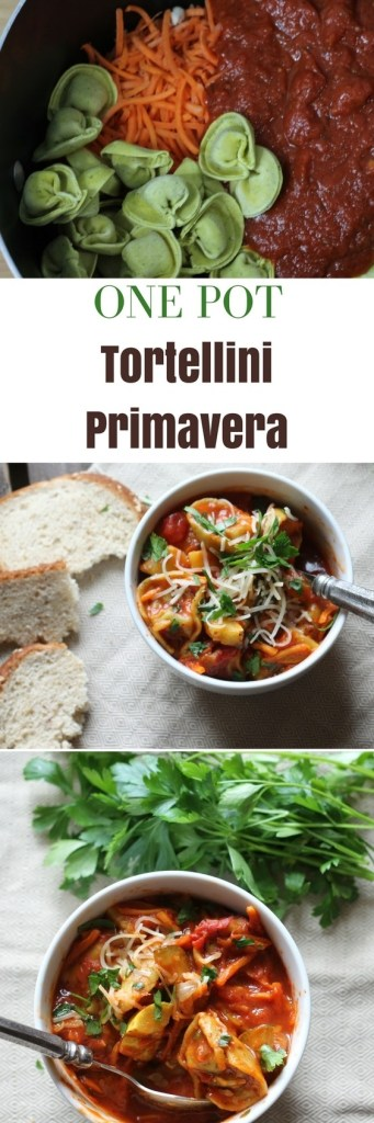 one pan tortellini primavera. Everything cooks in one pot. Super easy and can even use frozen vegetables. | 5dinner1hour.com
