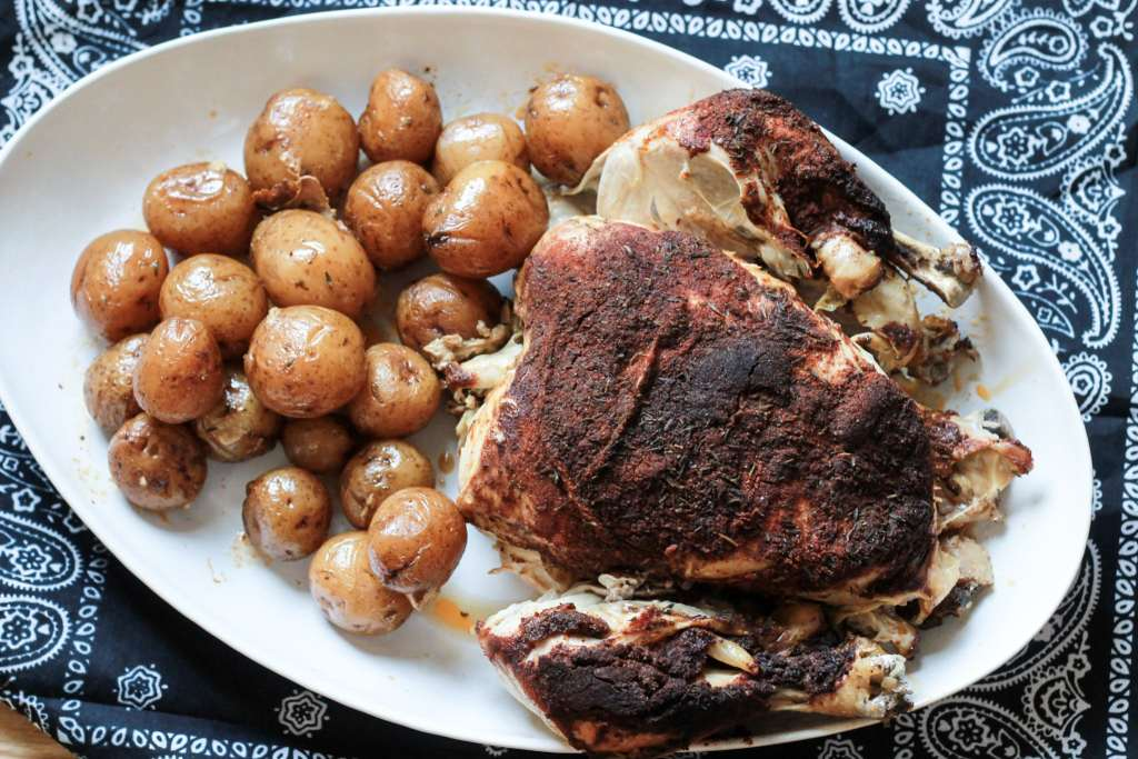 Whole roasted chicken in the slow cooker. The family went crazy over this one. Even the picky eaters loved it. The meat just fell off the bones it was so tender. Super simple to make too | 5dinners1hour.com