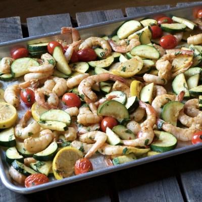 Easy One Pan Roasted Shrimp Dinner