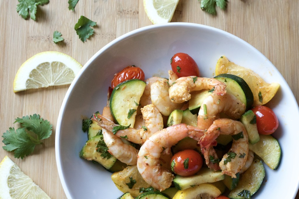 One Pan Roasted Shrimp dinner made with whole food ingredients. super easy clean eating.   5dinners1hour.com