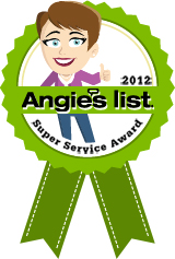 """Angie's List has just awarded us with the """"Super Service Award"""" for 2012!"""
