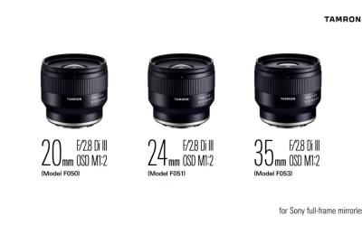 Tamron 20mm, 24mm, and 35mm F/2.8 Di III OSD M1:2 for Sony FE