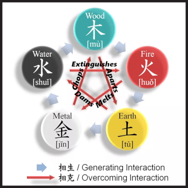 The Control Cycle (Ko Cycle). The awe-inspiring mnemonics used in the Control Cycle (like Water extinguishes Fire) represent a system that truly makes sense on many levels!