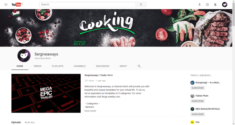 Cooking Banner Example