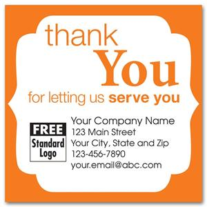 58168 Static Cling 'Thank You' Windshield Label with Orange Trim 2 1/2 x 1 1/2