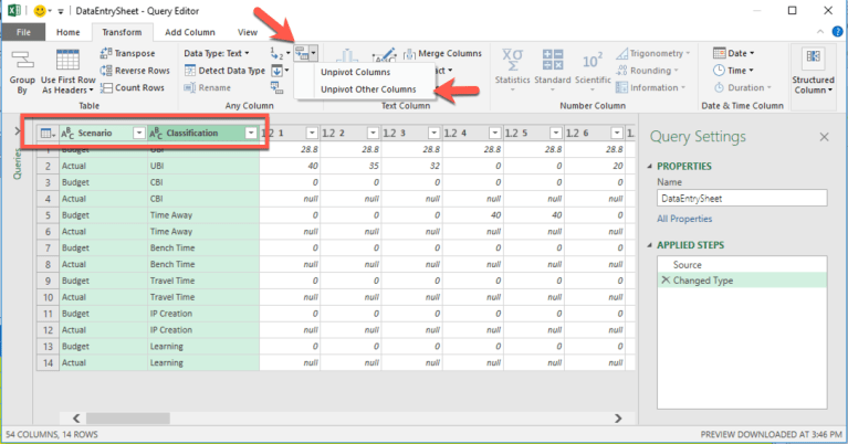 How to Convert Excel Tables Fact Tables Using Query Editor