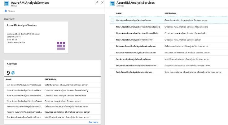 0 -0b3 : 」 u No  5 83  An - 「 22M , Amly SS  AzureRM AnalysisServices  AzureRM.AnaIys1sSerwces