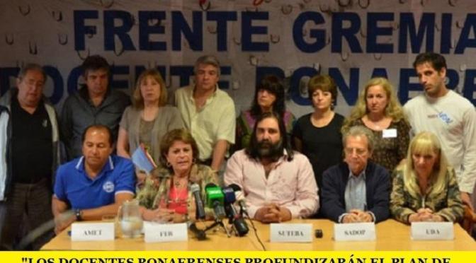 LOS DOCENTES BONAERENSES PROFUNDIZARÁN EL PLAN DE LUCHA SI CONTINÚAN SIN PARITARIAS