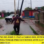 EL MUNICIPIO DE JOSÉ C. PAZ A CARGO DEL INTENDENTE MARIO ISHII RECOMIENDA TOMAR PRECAUCIONES ANTE LLUVIAS INTENSAS Y FUERTES TORMENTAS