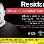 """REPROGRAMACIÓN DEL RECITAL DE """"RESIDENTE"""" EN MERLO PARA EL SÁBADO 23 DE SEPTIEMBRE"""