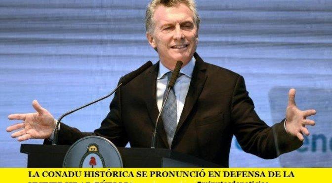 LA CONADU HISTÓRICA SE PRONUNCIÓ EN DEFENSA DE LA UNIVERSIDAD PÚBLICA